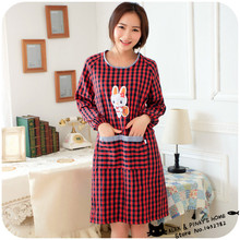 1pc Korean Lovely Garden Lattice Cotton Long-sleeved Plaid Antifouling Kitchen Aprons With Sleeves Cover Sexy Adult Aprons