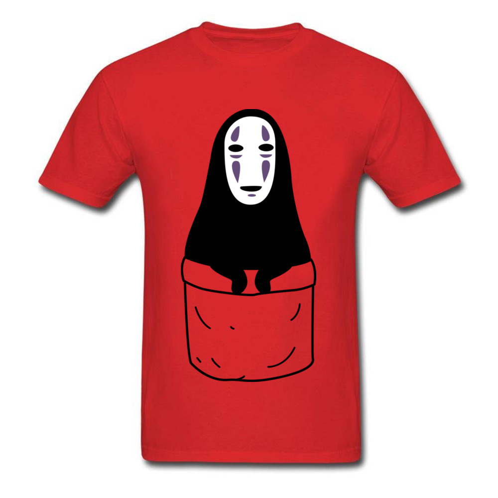 Mens Tops Shirts Kaonashi in a pocket Newest Printed On T-shirts 100% Cotton Short Sleeve Funny Sweatshirts Round Neck Kaonashi in a pocket red