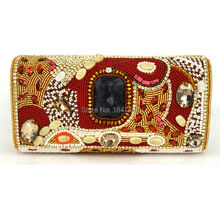 Fashion India Crystal Beaded Clutch Evening Bag Coral Color Diamond Pearl Women Evening Bag Prom Lady's Party Handbags SC488