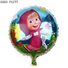 GOGO PAITY 18inch round shape Martha and bear balloons for party cartoon foil balloons helium cartoon balloons for child gift(China)