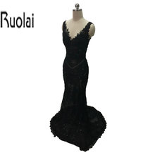 Newest Custom Made Lace Applique Sexy Fashion Black Elegant Tulle V-Neck and V-Back Zuhair Murad Evening Dresses(YASA-1085)