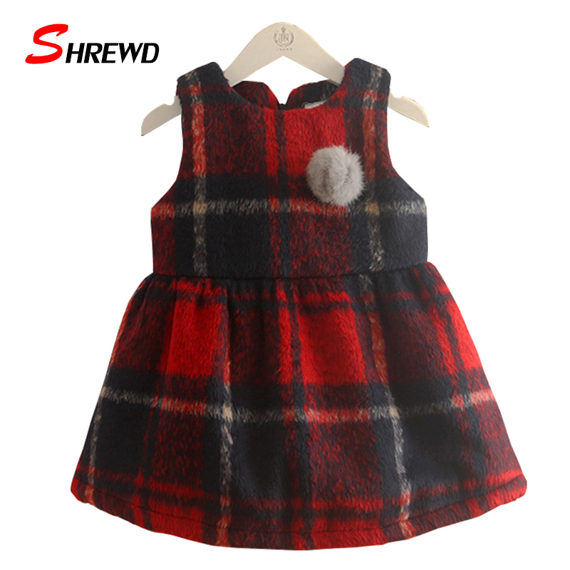 Baby Girl Dress Winter 2017 New Fashion Plaid Girls Party Dress Sleeveless Hair Ball Thick Cute Kids Clothes Girls 4434Z<br><br>Aliexpress