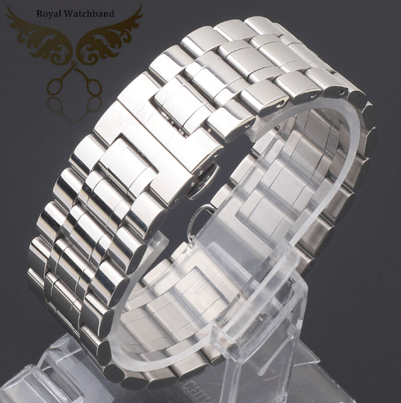 New Lug Width 18mm 20mm 22mm 24mm 26mm 28mm 30mm Silver Polished Stainless Steel Watch Band Strap Bracelet For Brand<br>