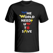 The World Needs Us To Save Logo Version2 Short Sleeve Letter Cotton T-shirt Anime Cool Brand T Shirt Creative Pop Skate Men Top(China)