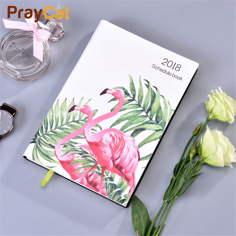 A5 Planner Schedule Notebook Organizer Dokibook Fashion Leather Flamingo Journal 150sheets 14 months 2018 Agenda Notebook<br>
