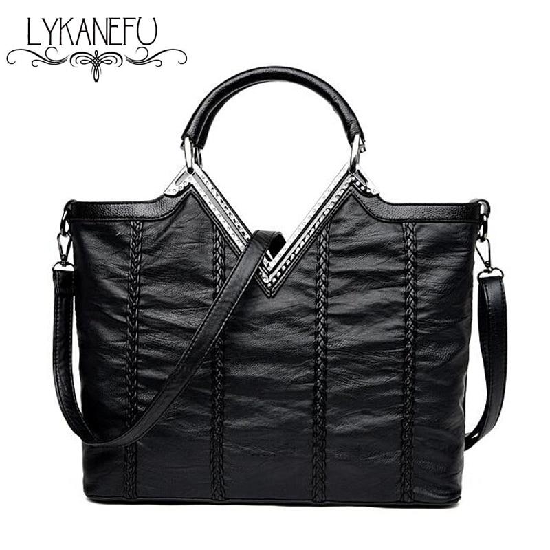 LYKANEFU PU Leather Bag OL Lady Purse Women Handbag Tote Shoulder Bags Bolsa Feminina Designer Handbags Of Famous Brand<br>