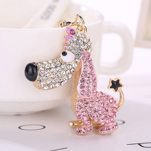 Cute Dog Keychain Pet Key Ring Rhinestone Crystal Bag Charm Pendant Car Keys Keyring Gift @M23