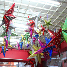 HAOCHU 2Pcs Pentagram Christmas Star Pendant Decor 3D Laser Pentagram Bar Store Market Room Ceiling Xmas Decoration Favor Gift