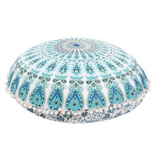 2017 new Large Mandala Floor Pillows Round Bohemian Meditation Cushion Cover Ottoman Pouf bohemian floor pillows cushions Case(China)