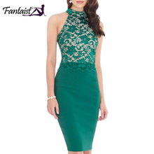 Fantaist Women Sleeveless Halter Neck Patchwork Elegant Cocktail Party Lace Dress Keyhole Back Club Wear Bodycon Pencil Dresses