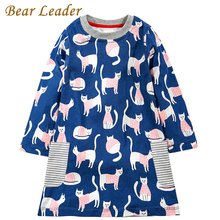 Bear Leader Girls Dress 2017 Brand Autumn Girls Clothes European and American Style Cats Printing Design Kids Dress For 3-7Years(China)