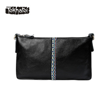 Tokharoi Brand National Women Genuine Leather Bag Quality Day Clutches Shoulder Bag Vintage Middle Embroidery Design Bags Black(China)