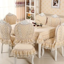 Chair Cover Set Cotton Jacquard Floral Damask Chair Back Cover+Lace Cushion Dinning Room Home Decoration European Classic Style(China)