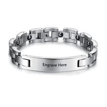Personalized Engrave Bracelets & Bangles 215mm Stainless Steel Men Bracelets Charms Bike Chain Jewelry (BA101440)