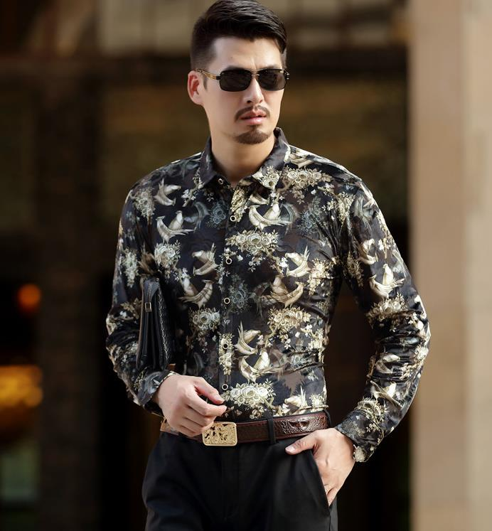 Top Fashion Trendy Luxury Mens Silk Shirts Formal Birds Print Velvet Shirt Slim Fit Thin Sexy Dress Shirts Drop Shipping
