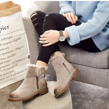 2017 New Fashion Snow boots Women boots 100% Genuine Leather  boots Thick Plush Natural Fur Warm Wool shoes woman  Winter Boots