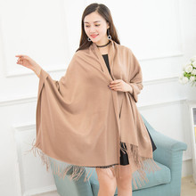 2017 Women Winter Cashmere shawls and wraps Blend Pashmina Solid Tassel Shawl Wrap Scarves relogio feminino yf3