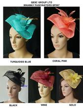 NEW ARRIVAL.Sinamay fascinator hat in SPECIAL shape with feather flower for kentucky derby and wedding.5 colors.FREE SHIPPING(China)