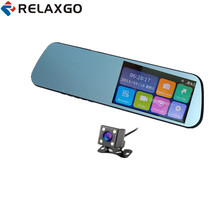 "Relaxgo 4.3"" Touch Screen Car DVR Rearview Mirror Video Recorder Full HD 1080P Car Camera Dual Lens Night Vision Auto Black Box(China)"
