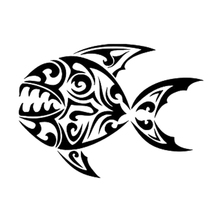 18.5cm*13.5cm Tribal Fish Monster Fashion Stickers Decals Vinyl Car-Styling Black/Silver S3-6974