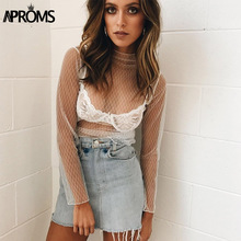 Aproms Black Velvet Star Mesh Hollow Out Blouses Women Casual Beach Wear See Through Tunic Tops Street Basic Sheer Shirt Blusas(China)