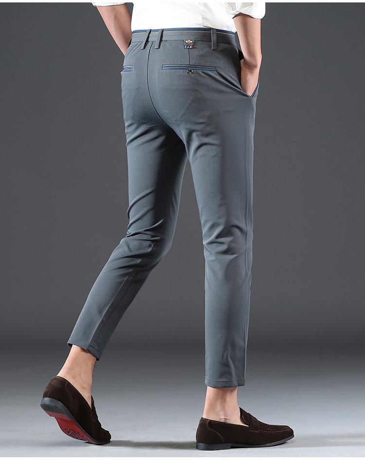 2018 Pring Summer Brand Clothing Men Casual Pants Business Slim Fit Elastic Ankle-length Pants Men's Skinny Pants Men Trousers 12