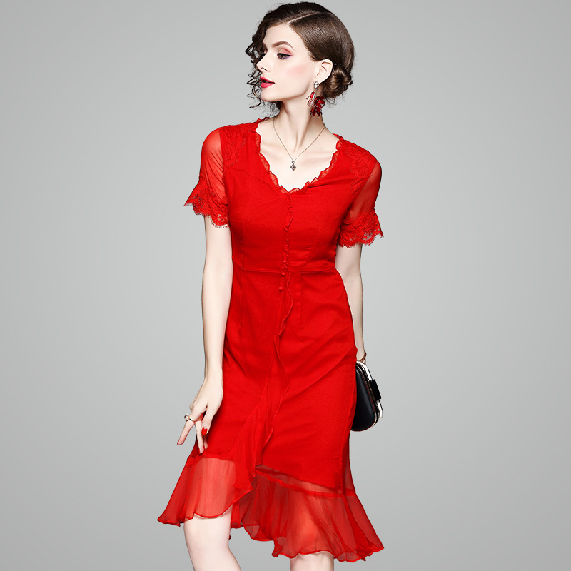 2018 Summer Elegant Runway Sexy Dress Women's High End Real Silk Red Color Mermaid Knee Length Dresses with Lace 73003