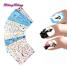 New Halloween Nail Stickers Hallow Nail Art 3D Adhesive Nail Decals Ghost Pumpkin Skull Bat Design Nail Manicure Decoration