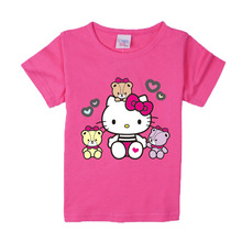 2018 Kids Clothes Girls Summer T-shirt Girls T Shirt Children Clothing Short Sleeve Hello Kitty Fashion Casual Toddler Boys Tops(China)