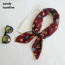 2017 Summer New Satin Womens Silk Scarf Small Squares Print Bandana Collar Patern Hijab Scarves Women 70*70cm
