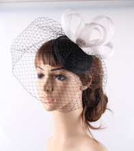 17Colors bridal fascinator veils sinamay base with birdcage veils wedding headwear cocktail hats party event occasion headpieces