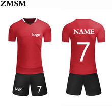 2017 New  soccer uniform Running Quick Dry Slim Fit T-shirts Short-Sleeve top soccer jerseys  sets Print number and name  logo