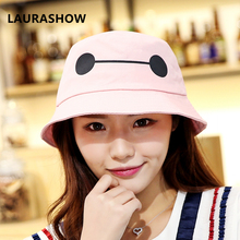 Baymax Big Hero White Black New Fashion Summer Hats Kids Hip Hop Bucket Hats For Girls Boys Outdoor Cotton Fishing Caps Hats