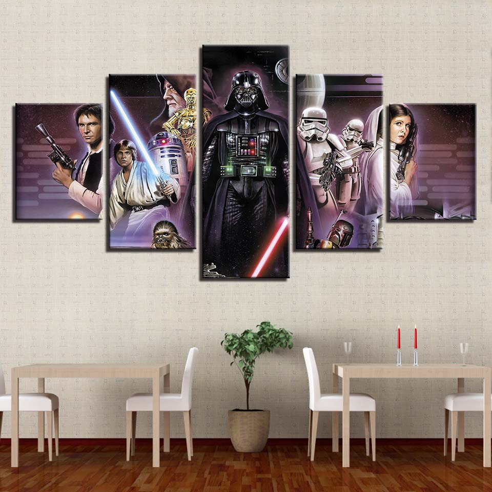 Canvas-Picture-Framework-Home-Decor-HD-Prints-Painting-5-Panels-Star-Wars-Movie-Characters-Movie-Poster