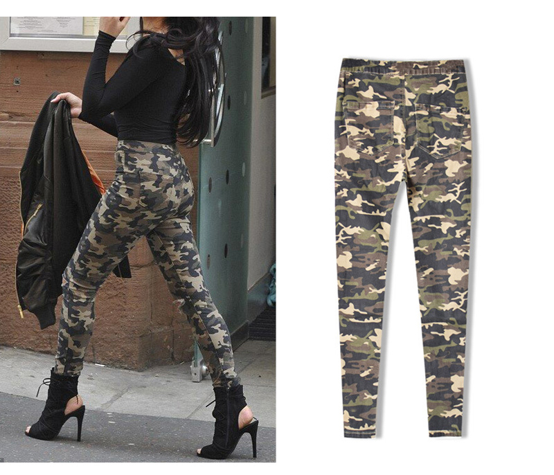 2017 New Brand Women Fitness Cloth Camouflage High Waist Elastic Stretch Holes Jeans Pencil Pants Street Style Denim Trousers (9)