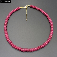 Vintage Classic Natural Stone Jewelry Elegant Wheel form 5*8mm Rubies Beaded Chain Choker Necklace 45cm(China)