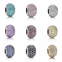 CPPO 100% 925 Sterling Silver Pandoras A variety of color crystal beads Charm Beads Fit DIY charms Original bracelet Free mail(China)