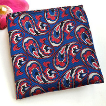 F-41 Factory Men's Luxury Silk Handkerchief Hanky Red Paisley Floral Chest Towel Casual Party Wedding Christmas Pocket Square
