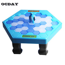 OCDAY Ice Breaking Save The Penguin Puzzle Table Games Balance Ice Cubes Knock Ice Block Paternity Interactive Family Funny Toys