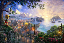 Thomas Kinkade Oil Paintings Character Pinocchio Art Decor Painting Print Giclee Art Print On Canvas Framed