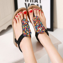 Gold silver gladiator sandals woman bling bling rivets flip flops colorful ladies shoes rhinestone sandalias mujer Roman style