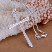 Best-Selling Silver Plated Cross Pendant Snake Chain Necklace Charm Women's Fashion Accessory 6CE7