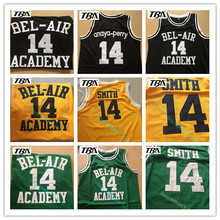 TBA Basketball Jersey 14# Yellow Black Green Will Smith the Fresh Prince Movie American Throwback Sleeveless Jerseys
