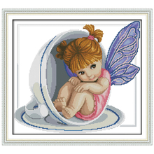 Little Angel In The Cup Patterns Counted Cross Stitch 11 14CT Cross Stitch Sets Chinese Cross-stitch Kits Embroidery Needlework