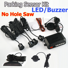 4 Sensors Buzzer/LED No Drill Hole Saw 22mm Car Parking Sensor Kit Reverse Radar Sound Alert Indicator System 7 Colors