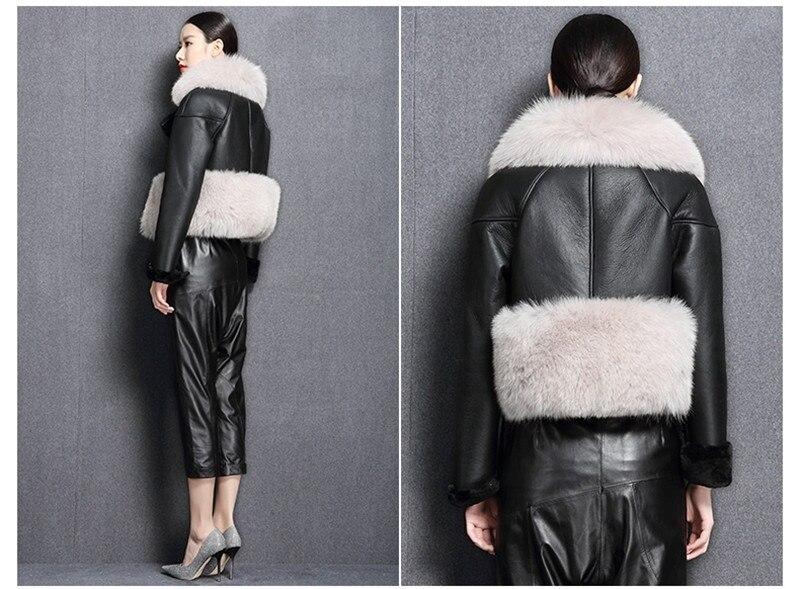 genuine sheep leatherskin jacket fox fur cooar coats (9)