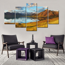 5 Panel Large Landscape Rocky Mountains with Lake Canvas Print Painting Modern Nature Scenery Wall Art Picture for Home Decor(China)