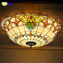FUMAT Stained Glass Ceiling Lights  Baroque Indoor Art Glass Lightings Bedroom Decorative Light Fixtures For Living Room Lamp