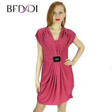 BFDADI 2016 New Fashion Women Deep V Neck Wrap Over Tulip Shaped Evening Party Sexy Summer Dress Casual Dresses 3277(China)