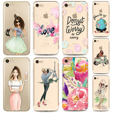 Sexy Summer Travel Girl drink Phone Case For Apple iPhone 8 7 6 6s 5S SE 8plus 7plus 6sPlus Transparent Soft Silicon Mobile Bag(China)